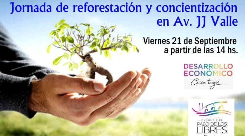 Jornada de reforestación y concientización en Av. JJ Valle