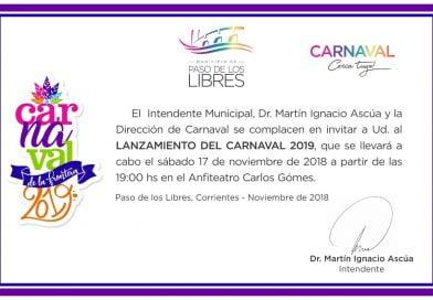 Invitación al lanzamiento del Carnaval 2019