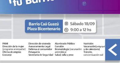 """Libres: este sábado la """"Muni en tu Barrio"""" acercará obras, servicios y beneficios sociales al Caá Guazú"""